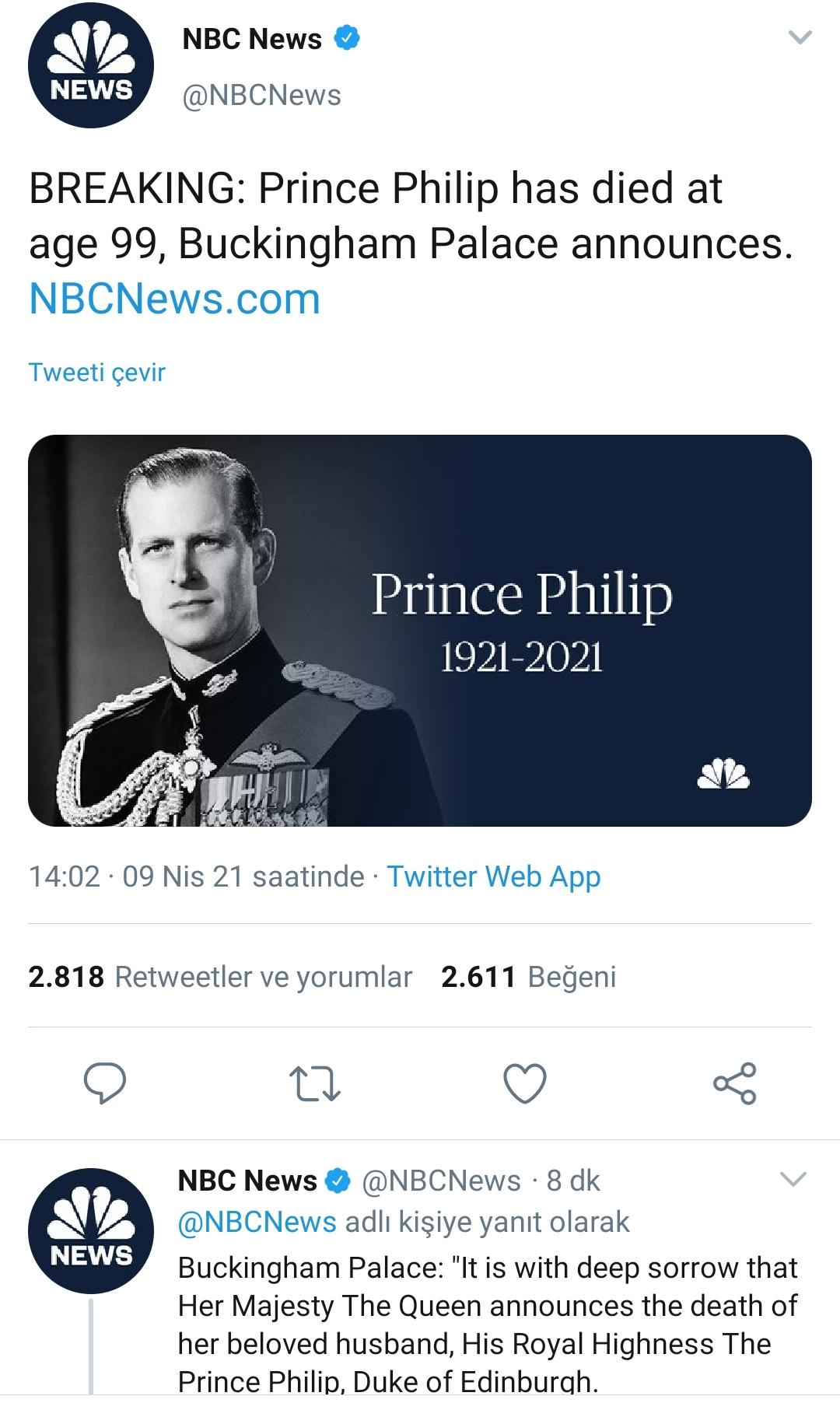 Prens Philip, hayatını kaybetti !