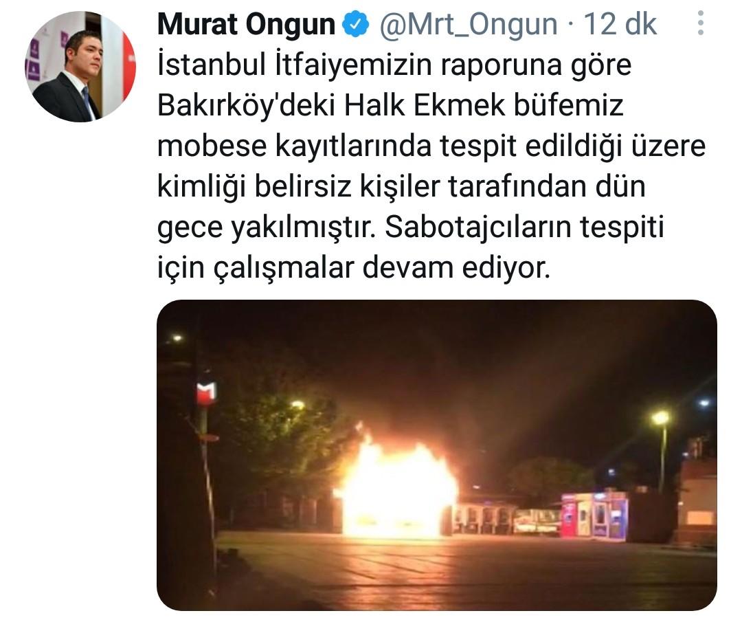 İstanbul Bakırköy'de sabaha karşı yanan Halk Ekmek büfesinin sabotaja uğradığı açıklandı!