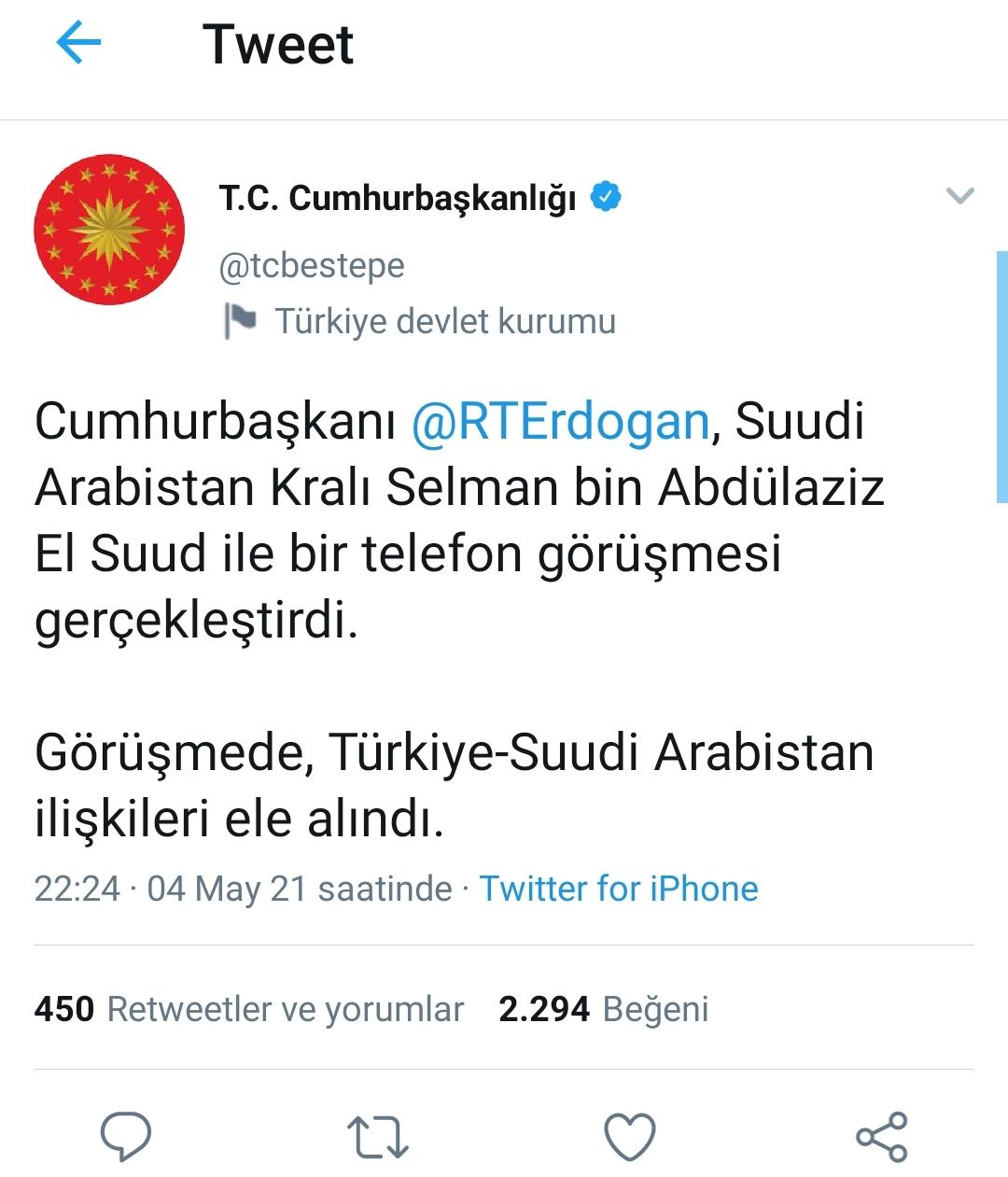 Cumhurbaşkanı Recep Tayyip Erdoğan, Suudi Arabistan Kralı Selman bin Abdülaziz El Suud ile telefonda görüştü.